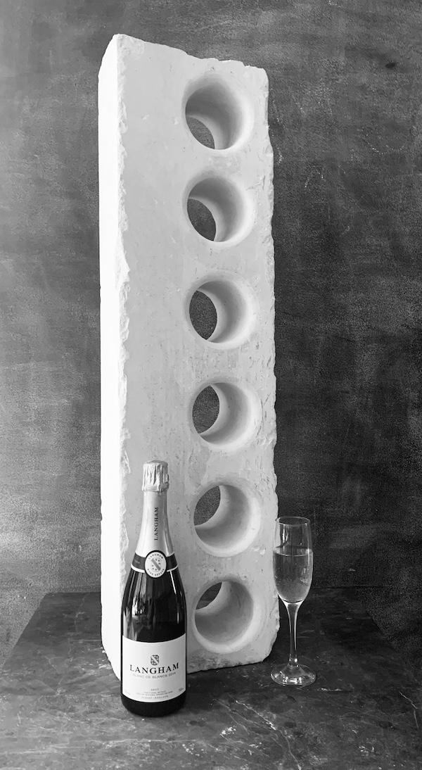 6 Hole Portland Stone Wine Rack | Contemporary Slate & Stone