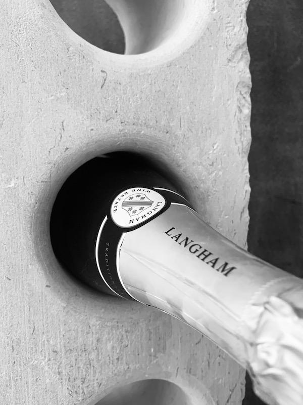 Langham wine in Portland Stone wine rack close up CSS