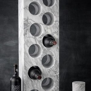 Italian Marble Gin Whiskey Wine Rack with wine bottles and drilled cores showing